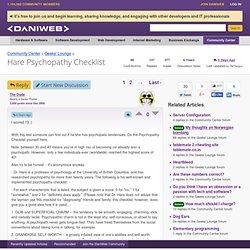 Hare Psychopathy Checklist - Geeks' Lounge