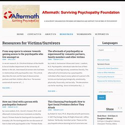 Aftermath: Surviving Psychopathy Foundation | Archive | Resources for Victims/Survivors