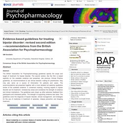 Evidence-based guidelines for treating bipolar disorder: revised second edition—recommendations from the British Association for Psychopharmacology