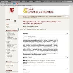 Etude psychosociale d'une séquence d'enseignement de la lecture au cours préparatoire