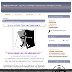 """""""La personnalité borderline"""" - TROMMENSCHLAGER FRANCK - PSYCHANALYSTE ET PSYCHOSOCIOLOGUE A LUXEUIL LES BAINS (70) LURE VESOUL SAULX SAINT-LOUP SUR SEMOUSE SAINT-SAUVEUR AU RELAIS DES PSYCHOLOGUES BESANÇON (25) HAUTE SAONE"""