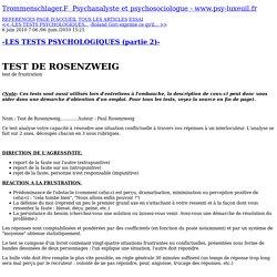 -LES TESTS PSYCHOLOGIQUES (partie 2)- - TROMMENSCHLAGER FRANCK -PSYCHANALYSTE ET THERAPEUTE FAMILIAL SECTEUR LUXEUIL-LES-BAINS, LURE ET REMIREMONT