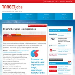 Psychotherapist: job description