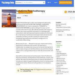 Solutions Psychotherapy, Psychiatric Nurse Practitioner, Virginia Beach, VA, 23454