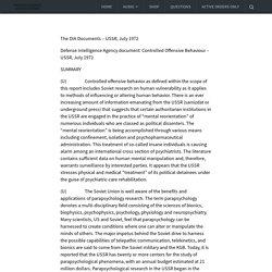 The DIA Documents – USSR, July 1972 – Psychotronic Generators