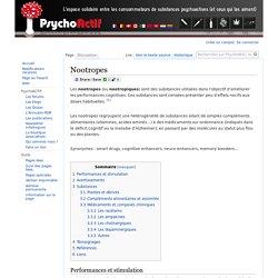 Nootropes — PsychoWiki, le wiki de Psychoactif