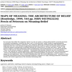 Psycoloquy 10(077): Maps of Meaning: the Architecture of Belief