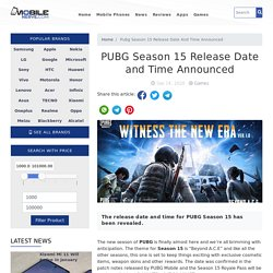 PUBG Season 15 Release Date and Time Announced