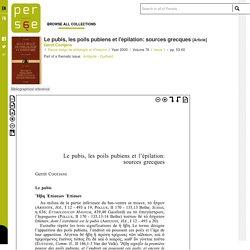 Le pubis, les poils pubiens et l'épilation: sources grecques