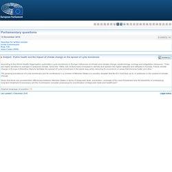 PARLEMENT EUROPEEN - Réponse à question E-008532-16 Santé publique face à l'évolution de la borréliose de Lyme dans le cadre du changement climatique