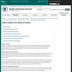 Mass.gov: Public Health Fact Sheet on Radon