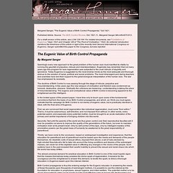 margaret sanger essay papers The margaret sanger papers are divided into two distinct portions: those papers that were microfilmed by the margaret sanger papers project.