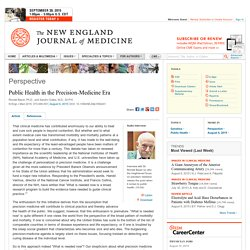 Public Health in the Precision-Medicine Era — NEJM