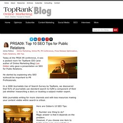 SEO for Public Relations - Top Ten Tips PRSA09 - Online Marketing Blog