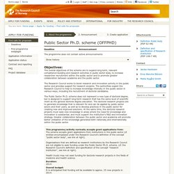 Public Sector Ph.D. scheme - The Research Council of Norway