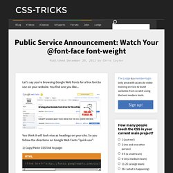Public Service Announcement: Watch Your @font-face font-weight