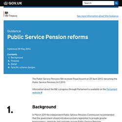 Public Service Pension reforms