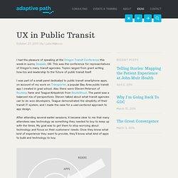 UX in Public Transit