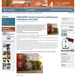 PUBLICATIE: Sociale impact van stedelijk groen (eindrapport ronde tafel)