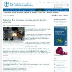 FAO 01/07/14 Publication de la liste des dix principaux parasites d'origine alimentaire