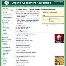 Organic Bytes - A Publication of the Organic Consumers Association