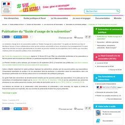 """Publication du """"Guide d'usage de la subvention"""" - associations.gouv.fr"""
