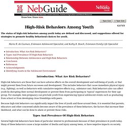 Publication: High Risk Behavior Among Youth