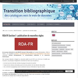 RDA-FR Section 1 : publication de nouvelles règles