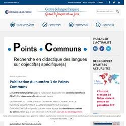 Publication du numéro 3 de Points Communs - Centre de langue française