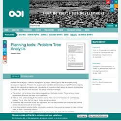 Planning tools: Problem Tree Analysis