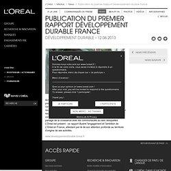 Publication du premier Rapport Développement durable France - News