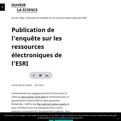 Publication de l'enquête sur les ressources électroniques de l'ESRI