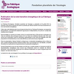 Publication de la note transition énergétique de La Fabrique Ecologique