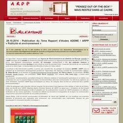 29.10.2014 - Publication du 7ème Rapport d'études ADEME / ARPP « Publicité et environnement »