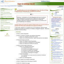 La publication sur le web pédagogique et sur les sites et blogs d'établissement hébergés par l'académie de Poitiers