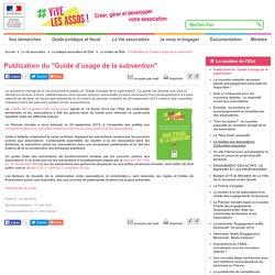 """Publication du """"Guide d'usage de la subvention"""""""