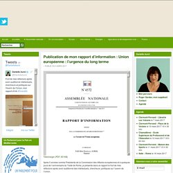 Publication de mon rapport d'information : Union européenne : l'urgence du long terme