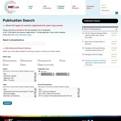 Publication Search « Center for Information Systems Research - MIT Sloan School of Management