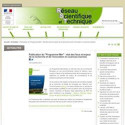 """MEDDE 16/11/12 Publication du """"Programme Mer"""" : état des lieux et enjeux de la recherche et de l'innovation en sciences marines"""