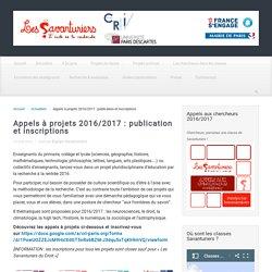 Appels à projets 2016/2017 : publication et inscriptions