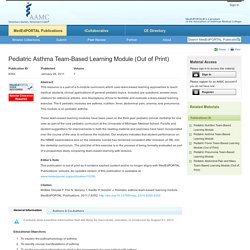 Pediatric Asthma Team-Based Learning Module (Out of Print) - publication - MedEdPORTAL