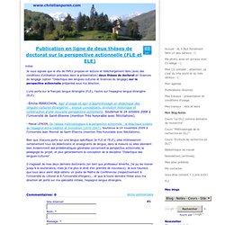 Publication en ligne de deux thèses de doctorat sur la perspective actionnelle (FLE et ELE)