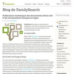 Publication numérique des documents d'état civil et de recensement français en ligne