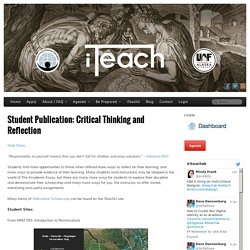 Student Publication: Critical Thinking and Reflection