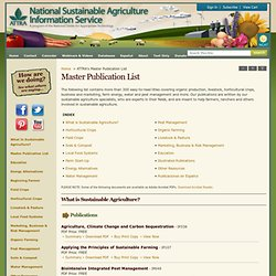 Master Publication List: ATTRA - National Sustainable Agricultur