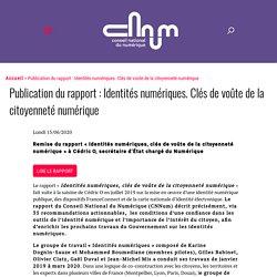 Publication du rapport : Identités numériques. Clés de voûte de la citoyenneté numérique