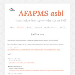Publications – AFAPMS (Association Francophone des Agents PMS)