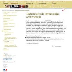 dictionnaire d'archivistique