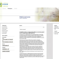 COGEM 21/05/12 Advice on General Surveillance concerning import of GT73 oilseed rape (CGM/120521-01)