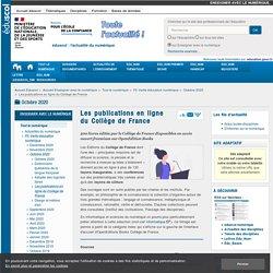 Les publications en ligne du Collège de France
